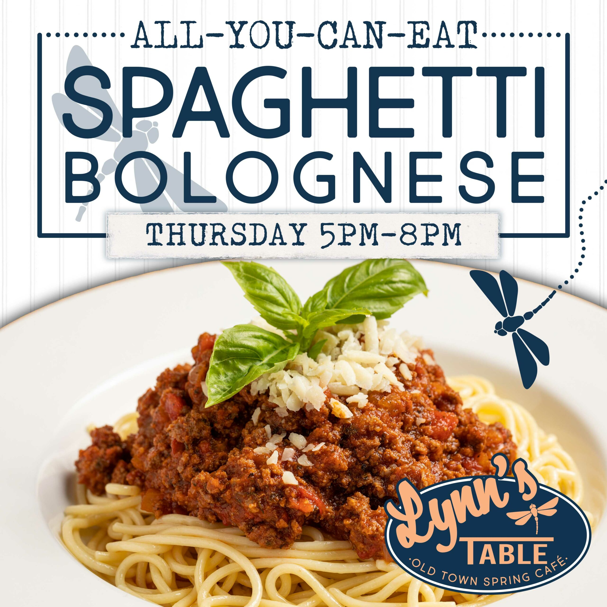 Thursday special - All you can eat spaghetti bolognese. 5pm to 8pm
